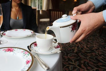 Being served our tea selections!